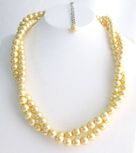 Bridesmaid Yellow Pearl Twisted Necklace, Affordable Price, Bridal