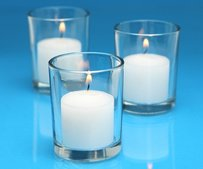 72 Glass Candle Votives And 72 Candles Clear Glass White Candles New