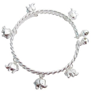 Elephant Charm Bracelet Dangling Silver Cuff Bracelet Great Holiday