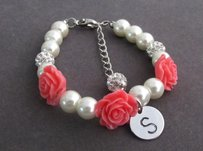 Flower Girl Bracelet With Flower Flower Girl Bracelet White Pearl