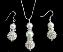 Ivory Bridesmaid Jewelry Set Cream Pearl Necklace & Earrings Set