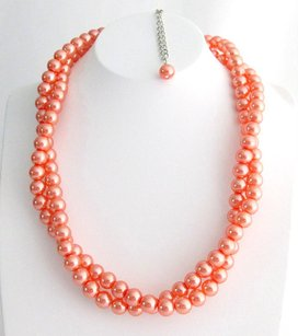Orange Pearl Necklace Chunky Necklace Twisted Necklace Orange Pearl Tw