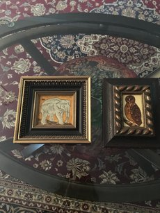 Vintage Paintings Set Of 2 Gold Plated Frame