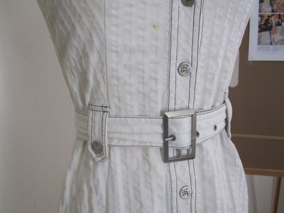 Kako Studio Cotton Blend Linen Button Front Military Belted Two-tone Hand Made Dress
