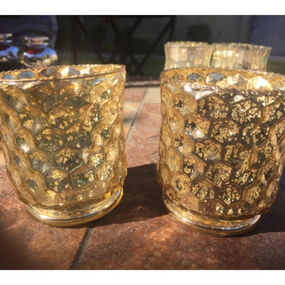Hammered Gold mercury glass candle holders