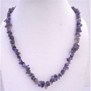 Amethyst Nugget Long Necklace 36 Inches Jewelry
