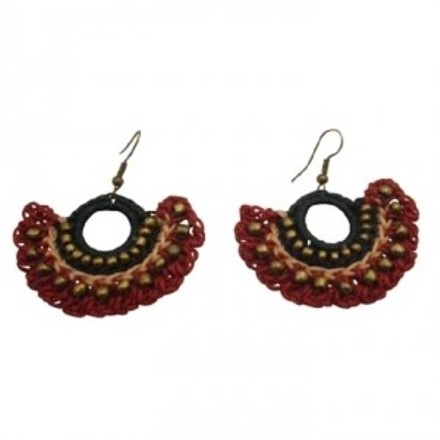 Beautiful Handmade Crocheted Black & Red Fashionable Earrings