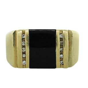 Yellow Gold Onyx And Diamond Accented Mens Ring