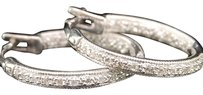 Ladies,14k,White,Gold,Diamond,Hoops,Huggies,Earrings