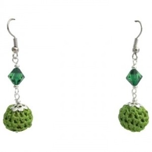 Looking Affordable Inexpensive Crochet Earrings Emerald Glass Bead