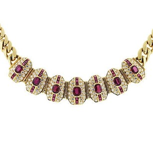 $$$ Vintage 18k Yellow Gold Ruby And Diamond Necklace