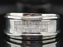 Diamond Wedding Band Mens 14k White Gold Princess Cut Ring 11mm 0.50 Ct.