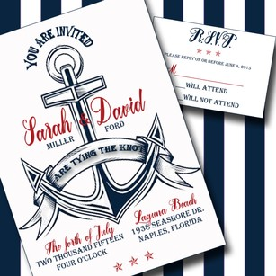 100 Custom Personalized Nautical Anchor Wedding Invitation Set