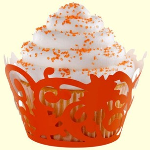 100 Orange Lace Cupcake Wraps Amber Halloween Wedding
