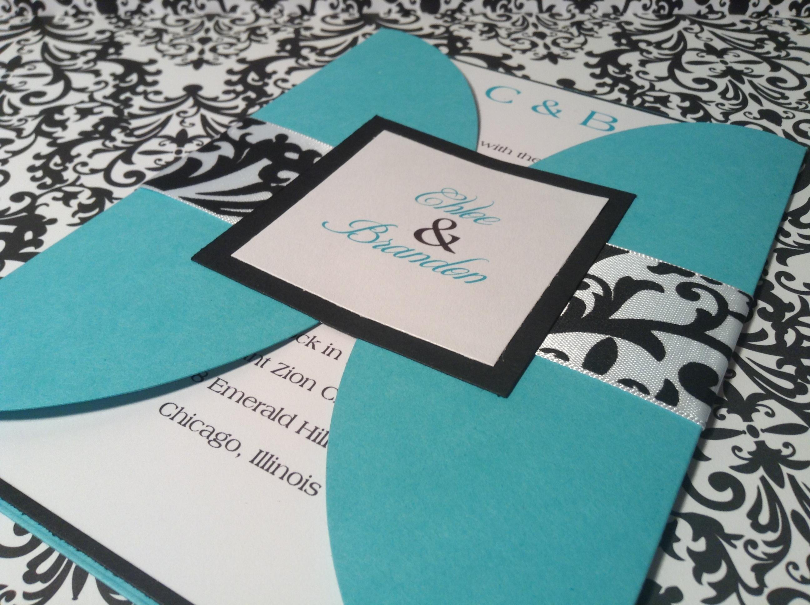 Turquoise Tiffany Blue 100 TurquoiseTiffany and Damask Gatefold