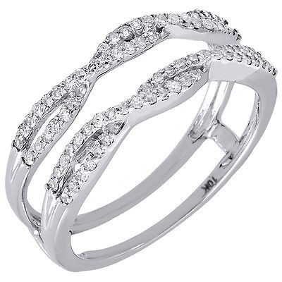 10k White Gold Diamond Solitaire Engagement Ring Enhancer Wrap