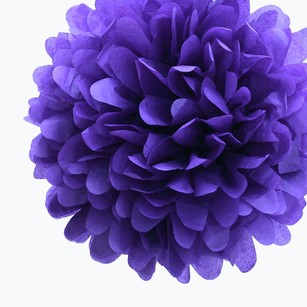 12 Royal Purple Tissue Pom Poms Flower Kissing Balls Pomanders 14