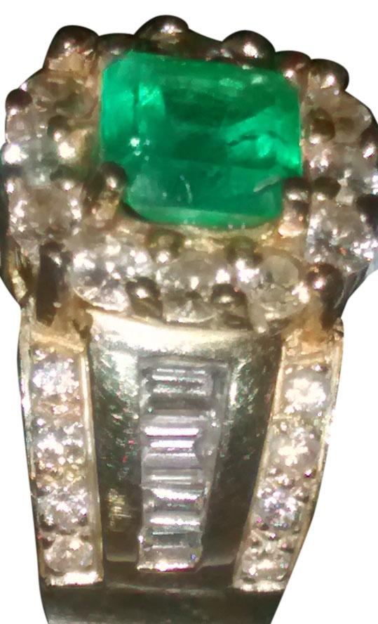 14K solid YG Colombian emerald ring with white diamonds