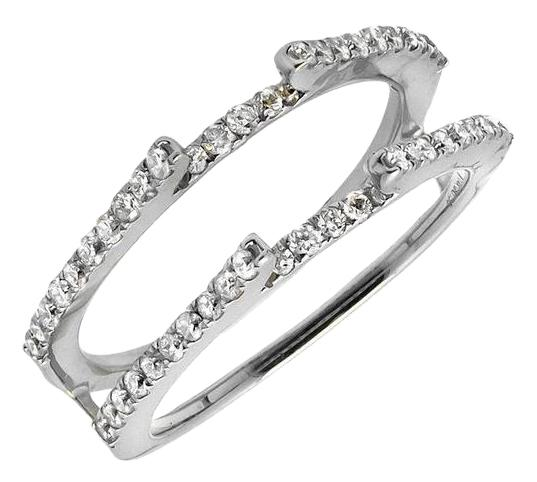 14k White Gold Chevron Diamond Guard Jacket Enhancer Wedding Band