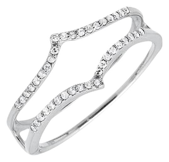14k White Gold Chevron Diamond Ring Guard Jacket Enhancer Wedding