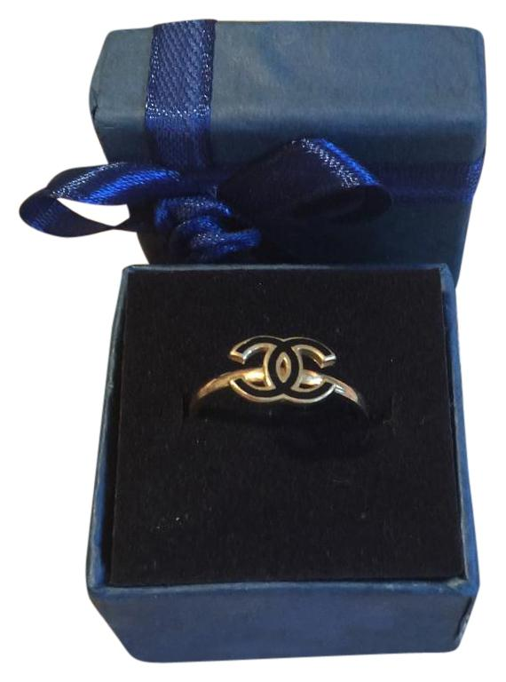 18K solid gold  CC chanel design ring
