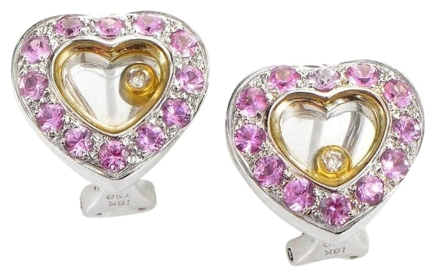 18K White & Yellow Gold Pink Sapphire Diamond Heart Earrings