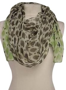 2 Chic Chic Womens Brown Green Printed Scarf One Os 100 Cotton 70 X 19