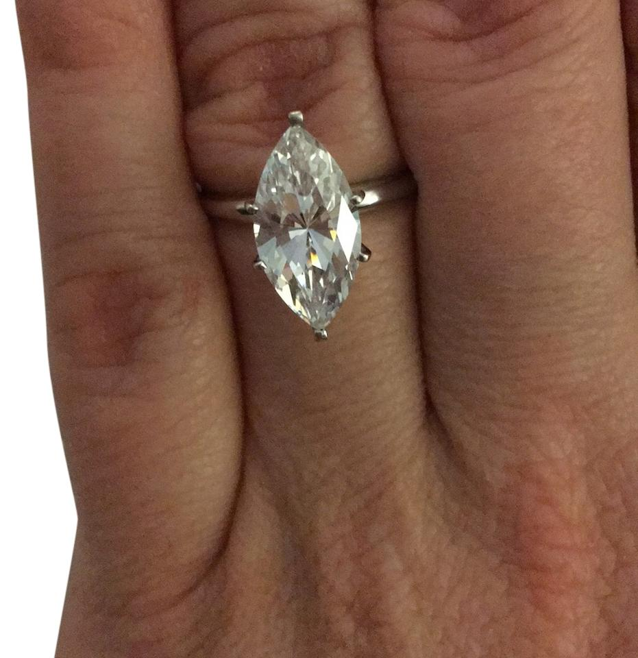 2.5 ct Perfect Manmade diamond marquee solitaire in 14k white gold Rod. over stirling silver.