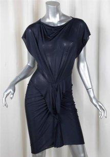 3.1 Phillip Lim Womens Navy Silkcotton Knit Draped Sheath Dress