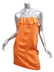 3.1 Phillip Lim short dress Orange Silk Satin Strapless Ruffle Tube Shift Mini on Tradesy