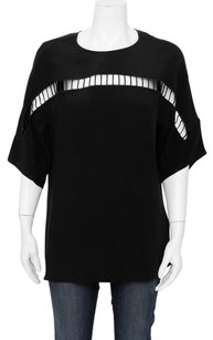 3.1 Phillip Lim Cut Out Oversized Keyhole Batwing Sleeve Scoop Neck Silk Top Black