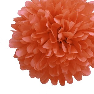 36 Poppy Orange Rust Tissue Pom Pom Flower Balls Kissing Balls Pomanders 14