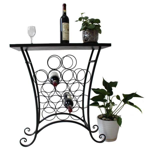 5 tier metal wine rack with mosaic tile top