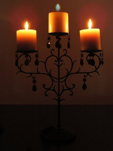 4 Black Candelabras Iron Metal With Crystals Candle Holder 3 Pillar