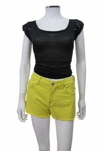 7 For All Mankind Mini/Short Shorts Neon Yellow