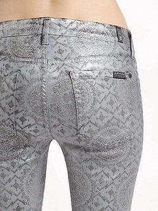 7 For All Mankind Silver Coated Skinny Jeans