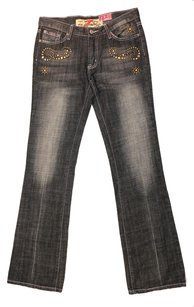 7 For All Mankind Studded Denim Boot Cut Jeans-Dark Rinse