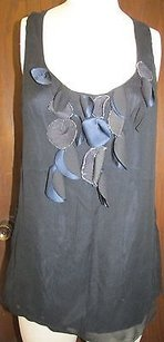7 For All Mankind Navy Black Silk Sleeveless Ruffle Front G023 Top Blue