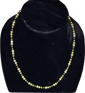925 Sterling Silver Cultured Pearl Necklace Green Pearls