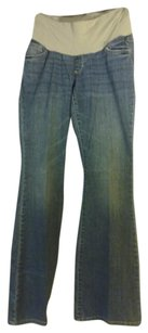 A Pea In The Pod Medium Wash Boot Cut Maternity Jeans.