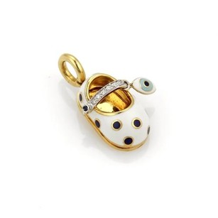 Aaron Basha Aaron Basha Diamond Enamel 18k Gold Good Luck Eye Shoe Charm Pendant