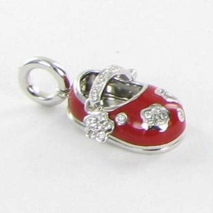 Aaron Basha Aaron Basha P271 Baby Shoe Flowers Red 0.26cts Diamonds 18k White Gold