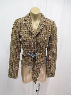 A.B.S. by Allen Schwartz Boucle In With Denim Side Panels Self Tie Browns and beige Jacket