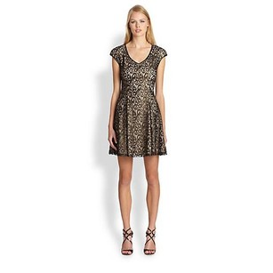 A.B.S. by Allen Schwartz Holiday Foil Lace Formal Dress