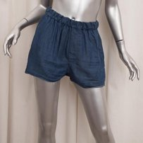 Acne Studios Acne Womens Chambray Elastic Waist 364 Shorts Blue