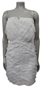 ADAM Lippes Frayed Ruffles Tiered Strapless Silk Dress
