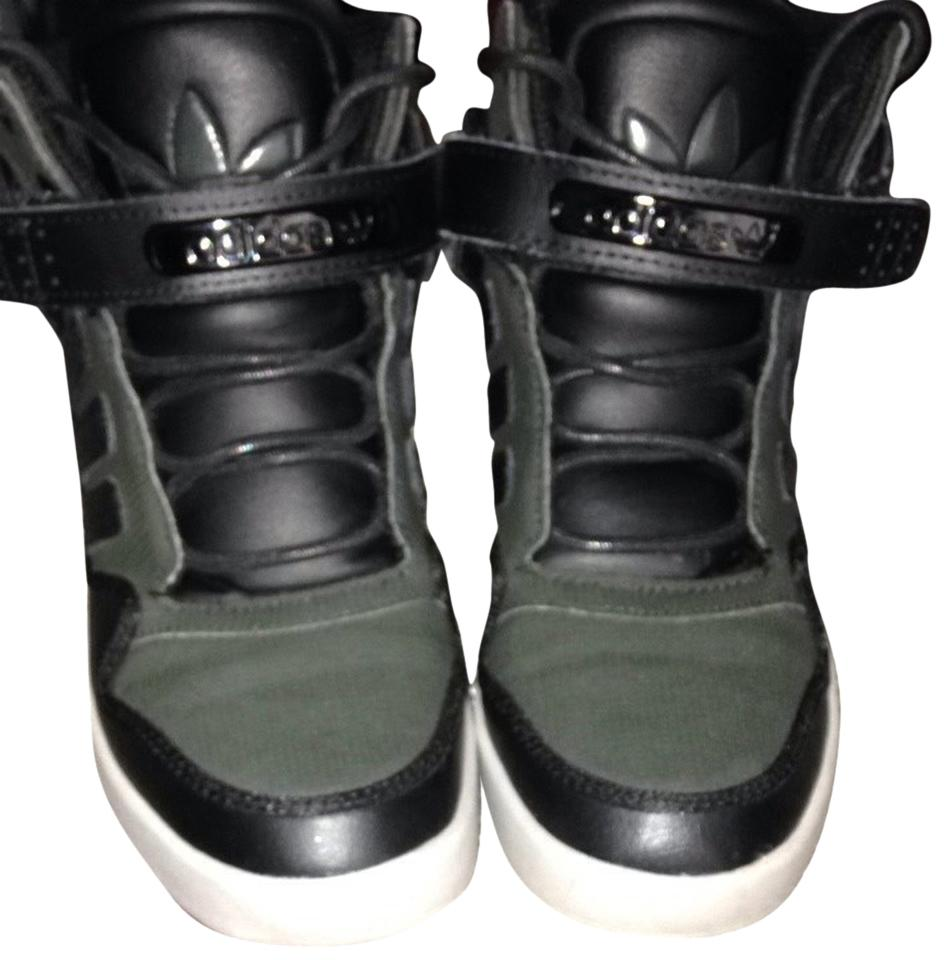 Adidas Sneakers High Tops Laces Velcro Street Style Green/black Athletic Shoes | Athletic On Sale