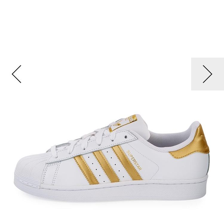 adidas White with Metallic Gold Stripes Stripes Gold Superstar Sneakers Size US 7 Regular (M, B) fabd43