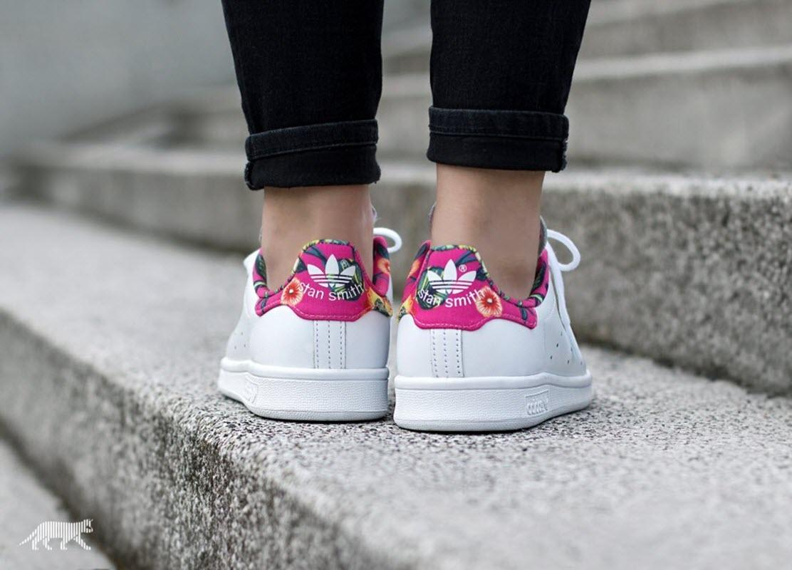 new style b2a6c af9f1 australia stan smith adidas pink floral d627a a92bc
