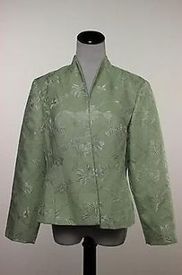 Adrianna Papell Adrianna Papell Womens Petites Green Floral Blazer Long Sleeve Jacket